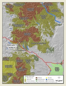 View of wild areas in the Cascades with a white box indicating the bottleneck habitat area that the I-90 project is within (click to enlarge).