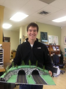 Top 5 finalist, Hunter Printz, dropping off his 3D model for the contest.