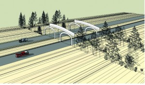 Sketch of potential I-90 overcrossing.  Credit:  WSDOT