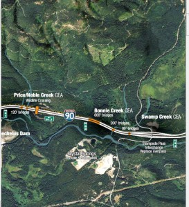 Image showing proximity of Crystal Springs property to crossing structures to be constructed in the I-90 Snoqualmie Pass East Project. Credit: Image cropped from a WSDOT project map.